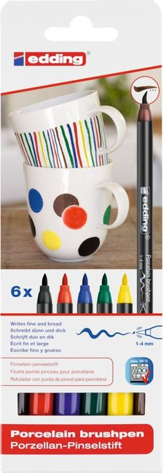 Red Blue Green, Yellow And Brown, Heat Resistant Glass, Marker Pen, Pen Sets, Brush Pen, Markers, Ceramics, Mugs
