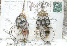 funky circle hoop earrings assemblage rustic gypsy dangles