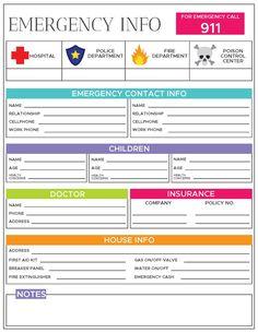Emergency Preparedness Kit, Emergency Preparation, Emergency Call, In Case Of Emergency, Emergency Contact Form, Organizing Paperwork, Binder Organization, Family Emergency Binder, Home Management Binder