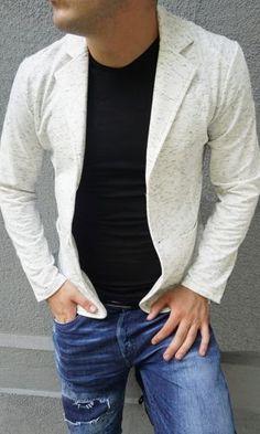 Спортно елегантни мъжки сака online в бял цвят.Памучно спортно елегантно мъжко сако, с които да излезе със стил на вън с онлайн магазин Kapriz.eu