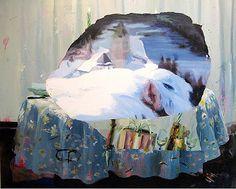 Judith Simonian, 2013, Blue Feast, Acrylic, collageon canvas, 61h x 72w in.
