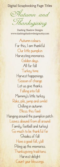 Scrapbook Page Title Ideas - Autumn and Thanksgiving                                                                                                                                                     More