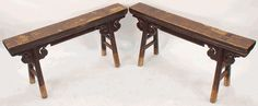 Antique Asian Furniture: Carved Chinese Antique Gate Bench from Northern China