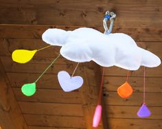 Hanging decoration for kids - a felt cloud with rain of colors