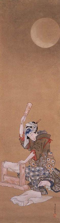 葛飾応為(Katsushika Ohi) 月下砧打ち美人図