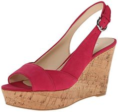 Nine West Women's Caballo Nubuck Wedge Sandal, Pink, 8.5 M US