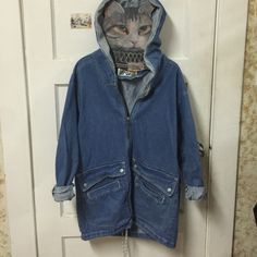 Vintage Long Hooded Denim Jean Jacket EUC, men size s = women size L, cover bums if you wear leggings, deep front pockets, from the 80's Andy Johns Jackets & Coats Jean Jackets