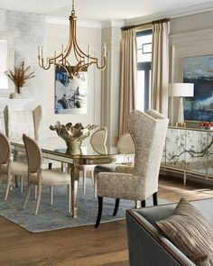 Haute House Eliza Dining Table, Silver Caramel Dining Chair, & Margo Tufted Banquette Elegant Dining Room, Elegant Home Decor, Elegant Homes, Dining Room Design, Dining Room Table, Dining Chairs, Dining Rooms, Room Chairs, Dinning Set