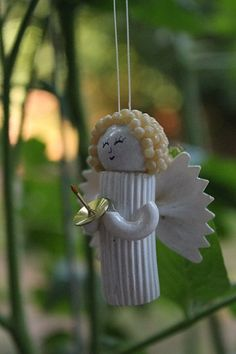 Pasta Noodle Angel ornament handmade Christmas by tonyasepulveda presepe fai da te Your place to buy and sell all things handmade Pre Lit Christmas Tree, Christmas Tree Crafts, Christmas Angels, Christmas Traditions, Handmade Christmas, Christmas Tree Decorations, Christmas Ornaments, Ornament Crafts, Angel Ornaments