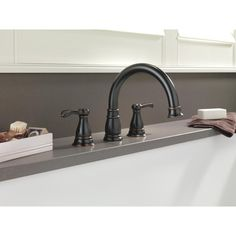 Delta Porter 2 Handle Deck Mount Roman Tub Faucet In Oil Rubbed Bronze
