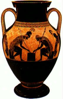 Exekias (potter and painter) Ajax and Achilles Playing a Game c.540-530 BCE. Black-figure painting on a ceramic amphora, height of amphora 2' (61cm) Vatican Museums, Rome.
