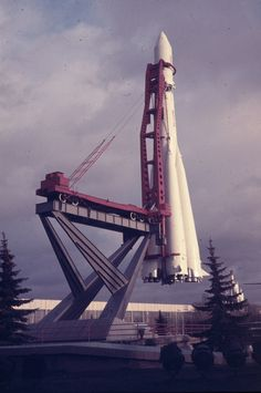 "1969 | Space Rocket Model ""Восток/Vostok"" (""East"") Placed on Launch Pad Monument | ""ВДНХ/VDNKh"" (""Exhibition of Achievements of the National Economy), USSR http://24.media.tumblr.com/tumblr_lzql1wOZzW1qiw9xho1_500.jpg"