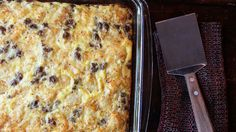 Top your egg bake with tots! This easy sausage-cheese-egg bake is perfect for a crowd and can be frozen ahead of time.