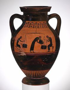 Amphora (jar), ca. 540–530 B.C.; black–figure Signed by Taleides as potter, attributed to the Taleides Painter Greek, Attic, Archaic Terracotta; H. 11 5/8 in. (29.5 cm) Purchase, Joseph Pulitzer Bequest, 1947 (47.11.5) Obverse: Theseus slaying the MinotaurReverse: Men weighing merchandise