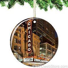 Chicago Porcelain Christmas Ornament