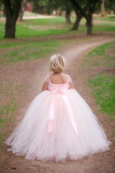 Blush Flower Girl Tutu Dress with Detachable Train, Flower Girl Dress, Pink Tutu, Tutu Dress, Pink Flower Girl Dress