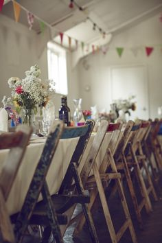 Rustic Wood Wooden Mismatched Chairs Vintage Family Friendly DIY Village Hall Wedding http://www.novaweddingphotography.co.uk/