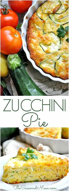This quick and easy Zucchini Pie starts with a baking mix to keep it fast, and it's the perfect side dish or vegetarian main course for a summer lunch or dinner! One of my favorite zucchini recipes EV (Mix Veggies Side Dish) Veggie Recipes, Cooking Recipes, Healthy Recipes, Pie Recipes, Easy Recipes, Sausage Recipes, Coctails Recipes, Recipies, Salad Recipes