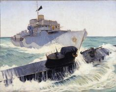 HMCS Ville de Québec Gets a Sub.  War artist Harold Beament's painting depicts the destruction by the Canadian corvette HMCS Ville de Québec of German U-Boat (submarine) U-224 on 13 January 1943.