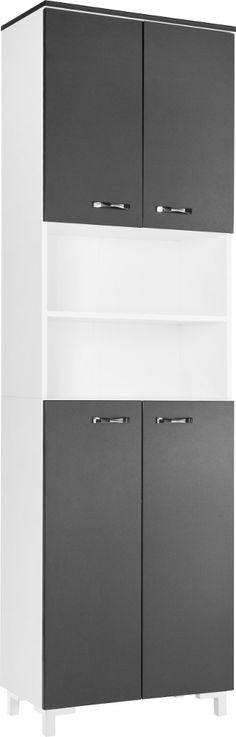 Midischrank Montreal - breit - anthrazit Hochglanz, Aqua Suite - badezimmer hochschrank 60 breit