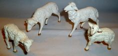 4 VINTAGE PLASTIC NATIVITY LAMBS SHEEP MARKED ITALY