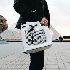 Cool futuristic style bucket bag