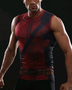 71842ba6518a6 Red compression tank top mens hero armor costume sleeveless t shirt