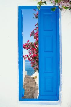 Traditional greek house on Mykonos island, Greece Vinyl Wall Mural - Europe Mykonos Island Greece, Santorini Greece, Types Of Blue, Greek Blue, Greece Travel, Greek Islands, Doorway, Windows And Doors, Porches