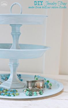 DIY Jewelry Tray made from dollar store candlesticks and cooking pans at The Happy Housie by Karen Silva