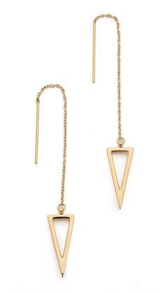 Rebecca Minkoff Long Triangle Frame Threader Earrings In Gold Madewell, Jewelry Accessories, Jewelry Design, Rebecca Minkoff Handbags, Kate Spade, Color Dorado, Triangle Earrings, Designer Earrings, Women's Earrings