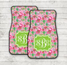 Christmas Gifts for Women Lilly Inspired Car Floor Mats Monogrammed Carmats Personalized Custom Car Mats Cute Car Accessories For Women by ChicMonogram on Etsy