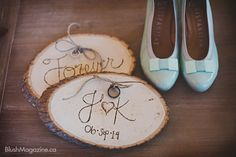 Rustic Wedding at The Hanger in Fort Edmonton. Tiffany Blue, Blue Shoes, Rustic Wedding, Log DYI, Bridal Shoes