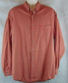 Eddie Bauer Men's LT Long Sleeve Red Checked 100% Cotton Button  Shirt…