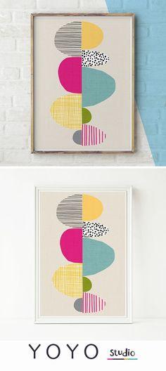 Abstract artwork. Scandinavian inspired printable art. Designed by Emma K Henderson. House warming gift.