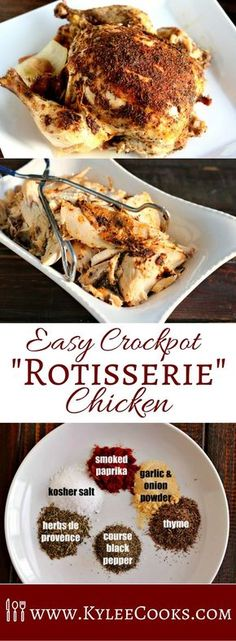 A delicious, crockpot rotisserie chicken, that is fall-apart tender and juicy. Just season the chicken, set it in the crockpot, and serve later!
