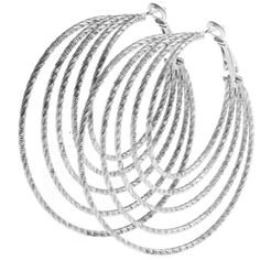 Silver Multi Hoop Earrings ($1.45) ❤ liked on Polyvore featuring jewelry, earrings, accessories, earrings jewelry, silver earrings, hoop earrings, silver jewellery and silver jewelry