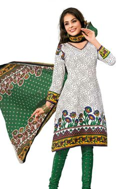 OFF WHITE & GREEN COTTON SALWAR KAMEEZ - DISH 1018