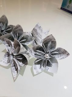 Kusudama flowers made out of musical scores