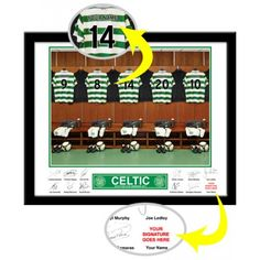 Celtic Personalised Dressing RoomStar Alongside Stokes and Brown in the Celtic Park Room.     The photo was taken in the actual Celtic dressing room. Your selected surname will be merged onto the centre shirt to exactly match your team mates. Your selected forename and surname are then printed alongside the player's autographs which appear underneath the photo leaving a space for the recipient to add their own signature alongside those of Brown, Stokes and other star players. Celtic Fc, Sports Gifts, Gifts For Boys, Dressing Room, Centre, Football, Printed, Star, Holiday Decor