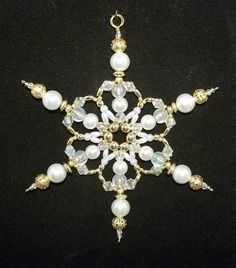 Snowflake Ornament White Pearl Gold and by SnowflakeStudio59
