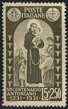 I francobolli della serie commemorativa del VII centenario della morte di Sant'Antonio