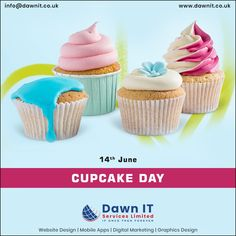 Happy cupcake day! 🧁🧁🧁  Cupcake🧁 Day brings people together👥. Families👪 and friends👨🏼‍🤝‍👨🏻 at home, colleagues 👨🏻‍💻a work - whether it's an excuse to organize a get-together.  #Cake #Cupcakeday #yummy #bite #nationalcupcakeday #webdesigner #webdesign #webapplicationdevelopment #mobileappdesign #logodesign #digitalmarketing #graphicsdesign Web Application Development, Mobile App Development Companies, Web Development Company, National Cupcake Day, Web Design, Logo Design, Website Design Company, Mobile App Design, Digital Marketing