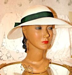 VINTAGE WOMEN' HAT 1940'S GENUINE PANAMA STRAW HAT WITH GREEN RIBBON #GENUINEPANAMA #WideBrim
