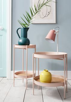 Think pink! Welcome the contemporary silhouette and clean lines of our Solna table into your home. #pink #pinkinteriors #millenialpink #blueinteriors #colourfulhome #colourfulinteriors Jewel Tone Decor, Rose Gold Accessories, Millenial Pink, Colourful Living Room, Lounge Areas, House Colors, Living Room Furniture, Blush Pink, Two By Two