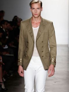 Simon Spurr Double Breasted Blazer    military inspired menswear