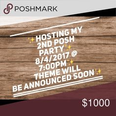✨PARTY ON✨CO-HOSTING MY SECOND POSH PARTY✨ 🎉🎉CO-HOSTING MY SECOND PARTY ON AUGUST 4th AT 7:00PM!!! 🎈🎈I'm super excited and will keep everyone updated on the theme!🎈🎈HAPPY POSHING ALL🎉🎉 Bags