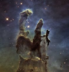 New view of the Pillars of Creation — visible - Name:Eagle Nebula, M 16, Messier 16  Type:Milky Way : Nebula : Type : Star Formation  Distance:7000 light years  Constellation:Serpens Cauda  Category:Nebulae