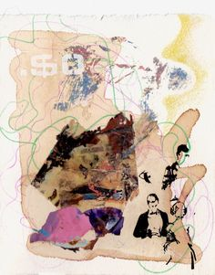 Elisha Sarti, $o, 2012  Drawing with mixed media collage on Arches paper  Approximately 5 in x 6.25 in / 12.7 cm x 15.9 cm.