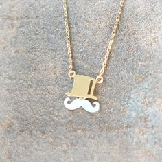 Mustache and Top hat Necklace in gold chain by laonato on Etsy, $16.00