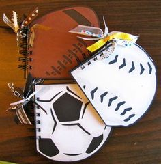 Using Cricut Sports Mania cartridge - little note pads Mini Scrapbook Albums, Scrapbook Paper Crafts, Scrapbook Cards, Mini Albums, Scrapbooking, Spiral Book Binding, Kids Sports Crafts, Smash Book Pages, Unique Baby Shower Favors